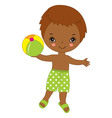 little african american with ball vector image