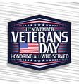 logo for veterans day vector image
