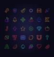 neon slot machine icon lighting gambling game vector image vector image