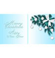 new year christmas blue christmas tree branch vector image