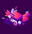 night scene with isometric grocery shop building vector image vector image