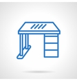 Office desk blue line icon vector image vector image
