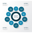optimization icons line style set with traffic vector image vector image