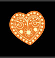patterned yellow heart on a black background vector image vector image