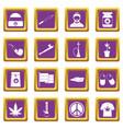 rastafarian icons set purple vector image vector image