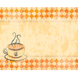 retro background with a cup of coffee vector image vector image