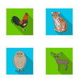 rooster tiger deer owl and other animals vector image vector image