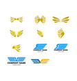 set wing logo template icon design vector image vector image