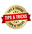 tips tricks 3d gold badge with red ribbon vector image vector image