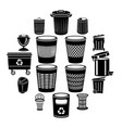 trash can icons set simple style vector image vector image