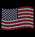 waving american flag stylization of grave icons vector image