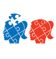 Woman head puzzle vector image