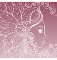 Zentangle woman face with shning elements vector image