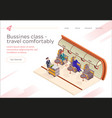 banner inscription bussines class fly comfortably vector image vector image