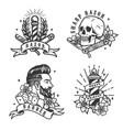 barbershop vintage labels set vector image vector image