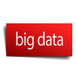 big data red paper sign isolated on white vector image vector image