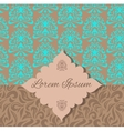 Brown blue damask pattern invitation vector image
