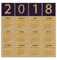 calendar 2018 year russian week starts with vector image