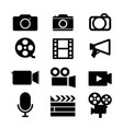 camera video studio media icon black vector image