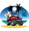 cartoon 4x4 car on beach vector image vector image