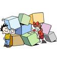 cartoon happy children building with big bricks vector image