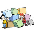 cartoon of happy children building with big bricks vector image