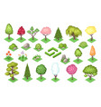 cartoon trees and bush fence stones and grass vector image