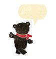cartoon waving teddy black bear with speech bubble vector image vector image