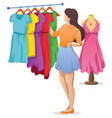 choosing dress cartoon vector image