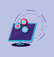 computer and gear wheels vector image vector image