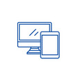 computer and tablet line icon concept computer vector image vector image