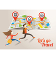 Couple run into Map Travel vector image vector image