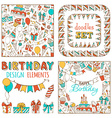 Doodles Happy Birthday Set vector image vector image