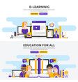 flat design concept banners -e learning vector image vector image