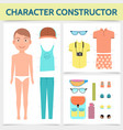 flat male character constructor concept vector image
