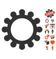 gear icon with valentine bonus vector image vector image
