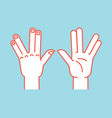 gesture spock sign vulcan greet stylized hand vector image vector image