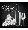 glass bottle wine grapes on chalkboard vector image vector image