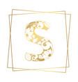 golden ornamental alphabet letter s font on white vector image