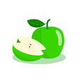 green apple and half cut apple vector image