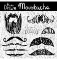 Hand drawn mustache set vector image vector image