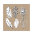 hand drawn set of various black and white bird vector image vector image