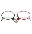 Hand shake between speech bubbles vector image vector image