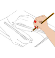 Intertwining of hands that draw vector image vector image