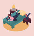isometric young women work and study at home vector image