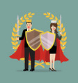 man and woman with shield sword and golden wreath vector image vector image