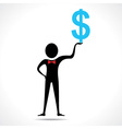 Man holding dollar symbol vector image vector image
