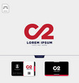 minimal c2 logo template and free business card vector image vector image