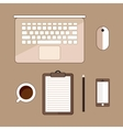 Office stuff with laptop cup of cofee and vector image vector image