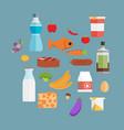online supermarket foods flat concept of grocery vector image vector image